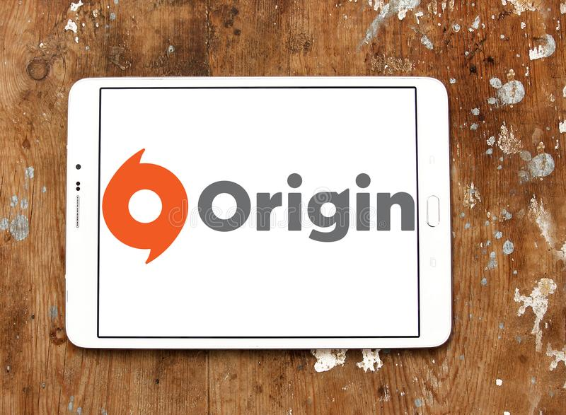 Origin digital distribution software logo. Logo of Origin digital distribution software on samsung tablet on wooden background. Origin is an online gaming royalty free stock photography