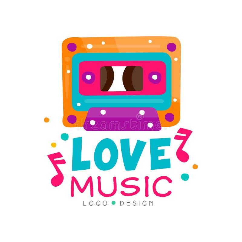 Logo original avec la cassette et les notes de couleur lumineuse Conception de vecteur pour l'emblème de magasin de musique, affi illustration stock