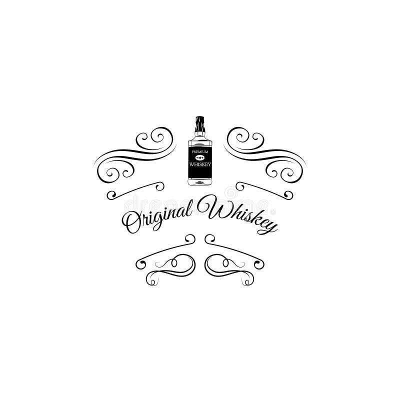 Logo original de whiskey de Gallois avec des remous, illustration de vecteur illustration de vecteur
