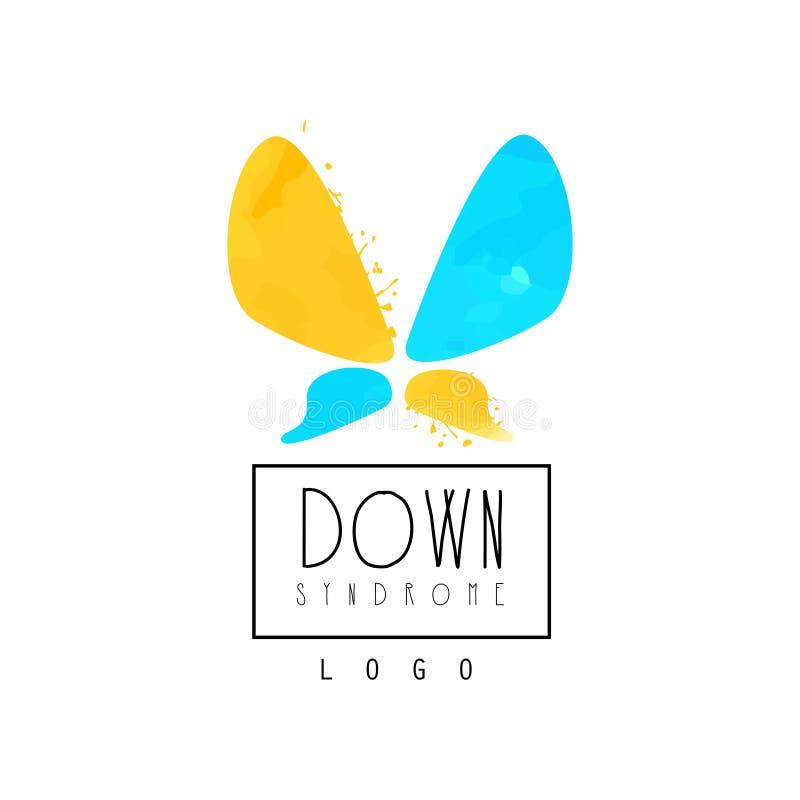 Logo originale di vettore con la farfalla astratta per le organizzazioni che aiutano la gente con sindrome di Down Blu e giallo l illustrazione di stock