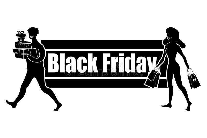 Logo orizzontale per il giorno di Black Friday Soddisfatto con i buoni compratori di acquisto La gente compra i regali e gli ogge fotografia stock libera da diritti