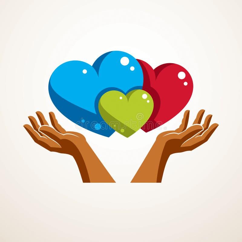 Logo ou icône heureux de vecteur de famille créée avec le hea trois coloré illustration de vecteur