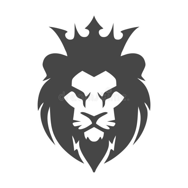 Logo ou icône principal de lion dans une couleur illustration de vecteur