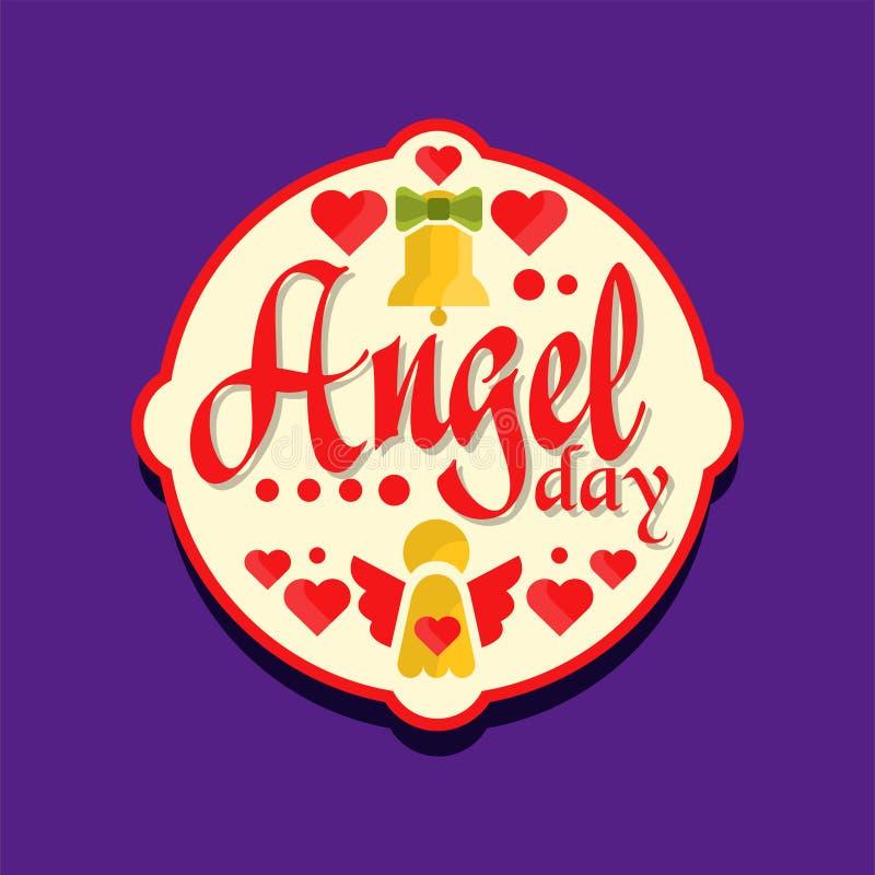 Logo ou label coloré pour la célébration de jour d'ange Rétro design de carte de vacances avec les cloches jaunes et les coeurs r illustration stock