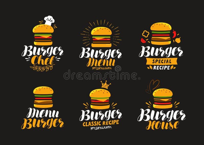 Logo ou label d'hamburger Aliments de préparation rapide, mangeant le concept Illustration de vecteur illustration de vecteur