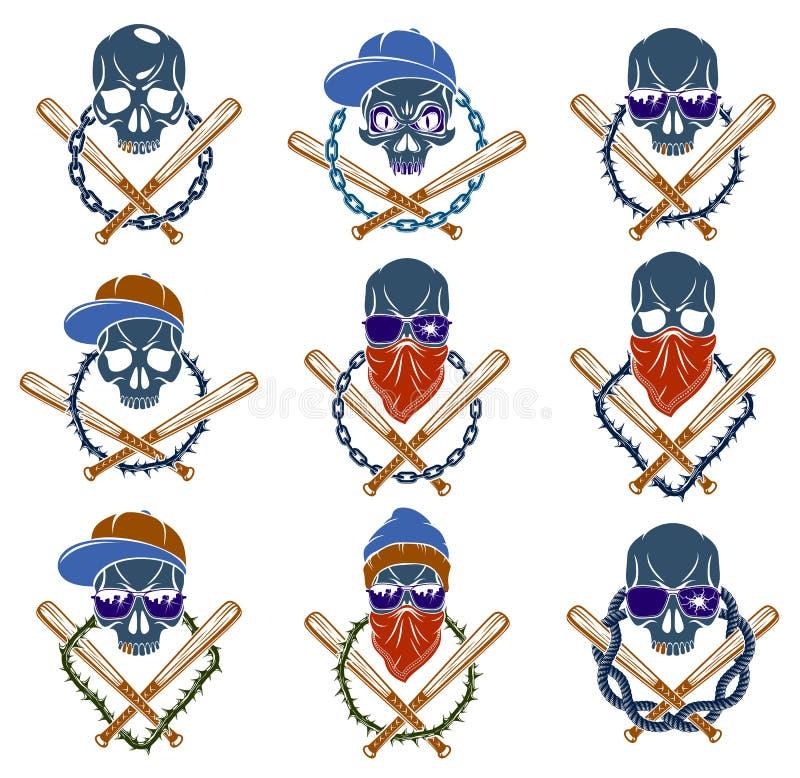 Logo ou tatouage d'emblème de bandit avec les battes de baseball agressives de crâne et d'autres éléments de conception, ensemble illustration de vecteur
