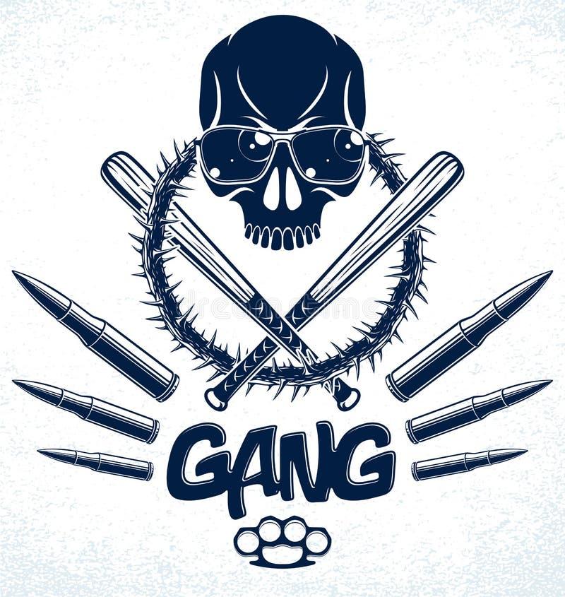 Logo ou tatouage d'emblème de bandit avec les battes de baseball agressives de crâne et d'autres armes et éléments de conception, illustration de vecteur