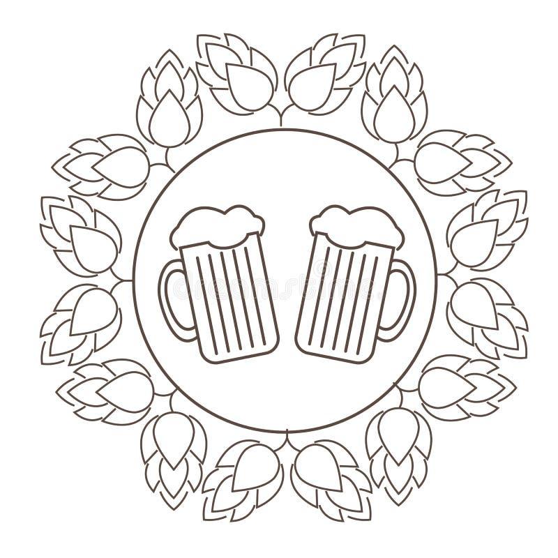 Logo ou timbre Oktoberfest avec l'image des houblon et des tasses de bière illustration de vecteur
