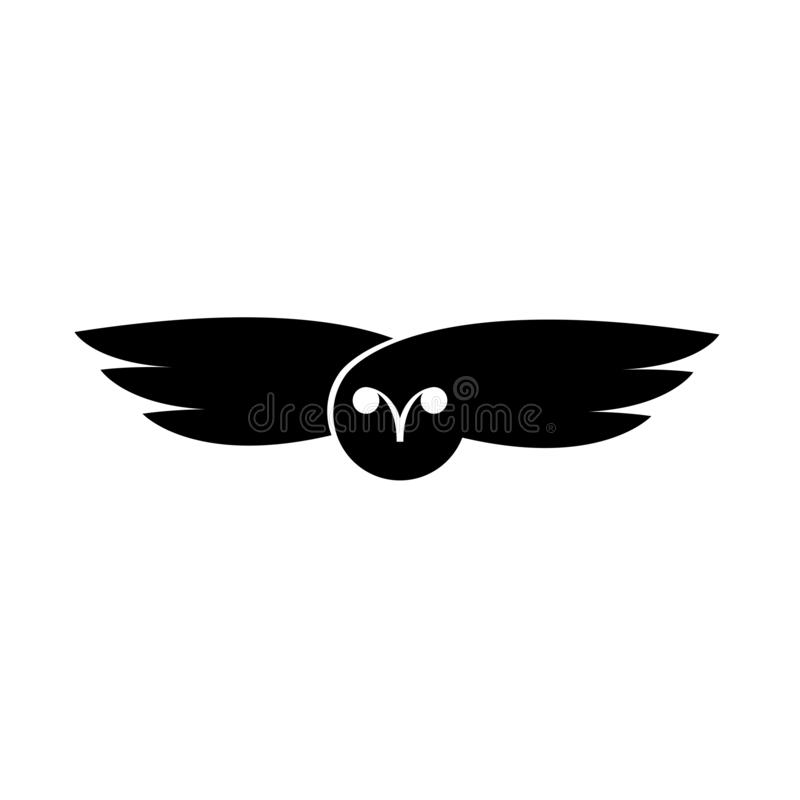 Logo owl flying bird negative space style design, minimalist t-shirt print stock illustration