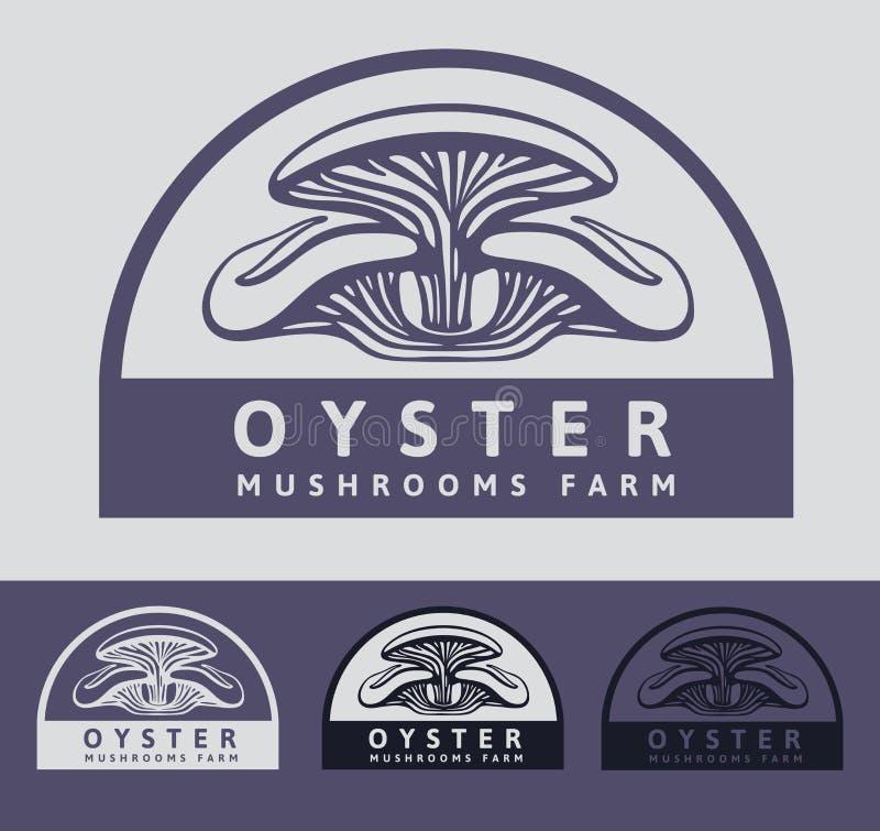 Logo Oystern Mushrooms: frische Pilze der Haufengewächshaus-Bearbeitung stock abbildung