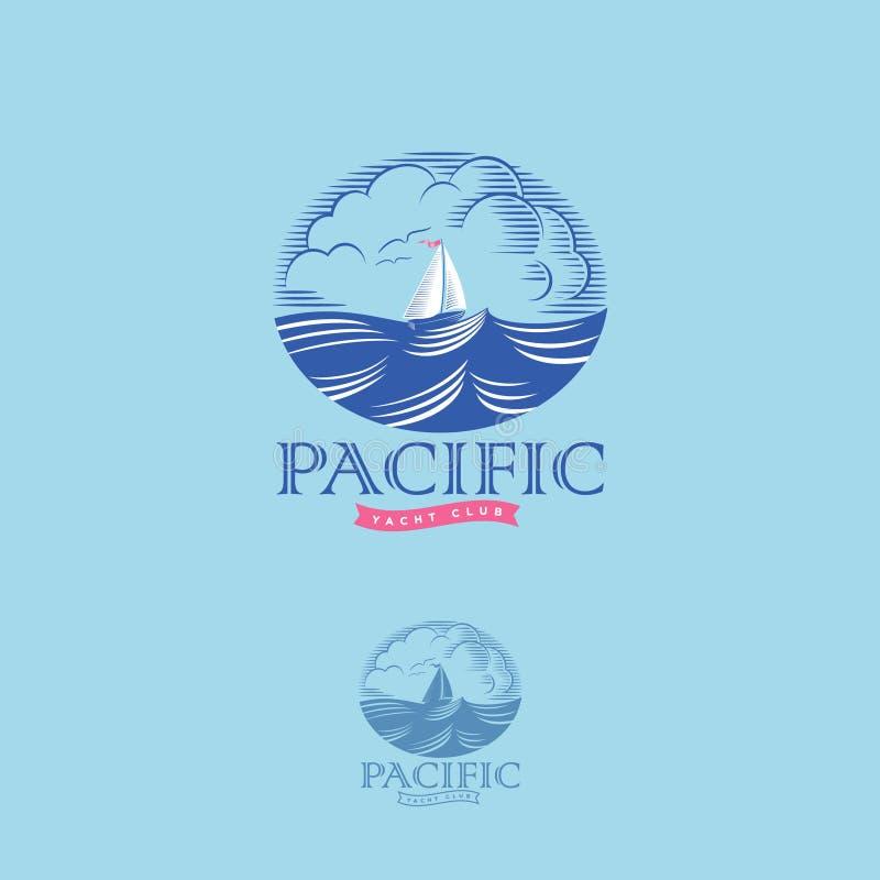 Logo pacifico dell'yacht club Logo pacifico dell'yacht club Onde del mare ed emblema dell'incisione di navigazione illustrazione vettoriale