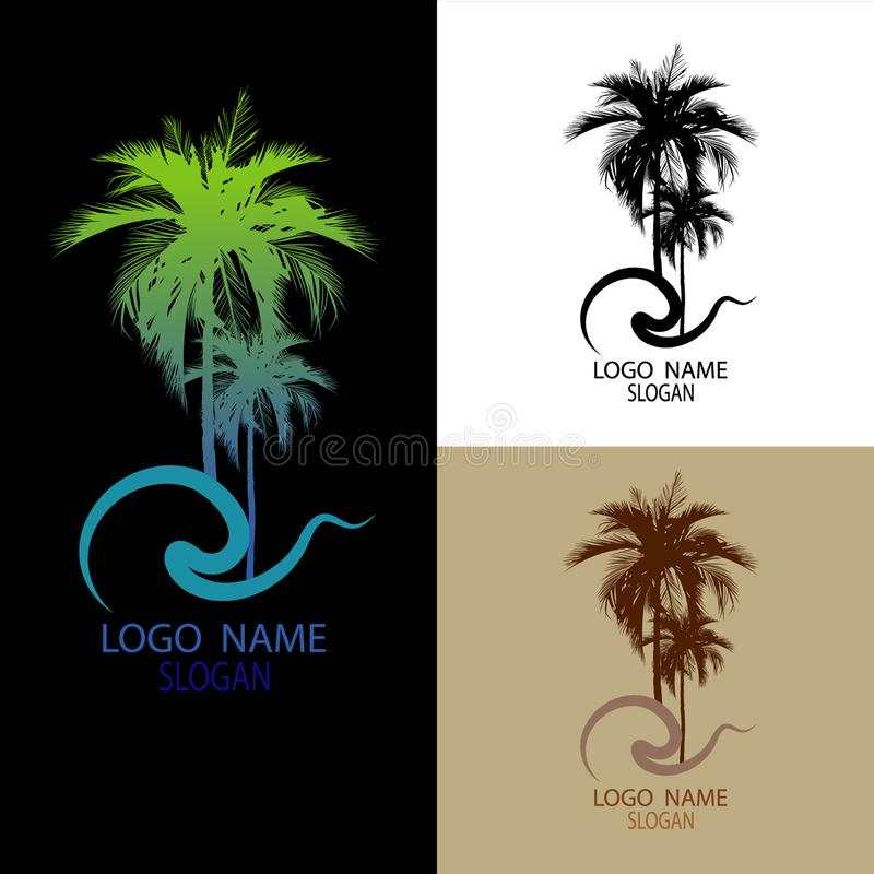 Logo of palm and coconut trees, vector illustration, stock illustration