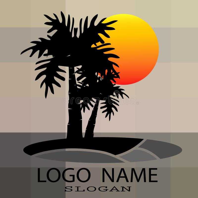 Logo of palm and coconut trees, vector illustration, vector illustration