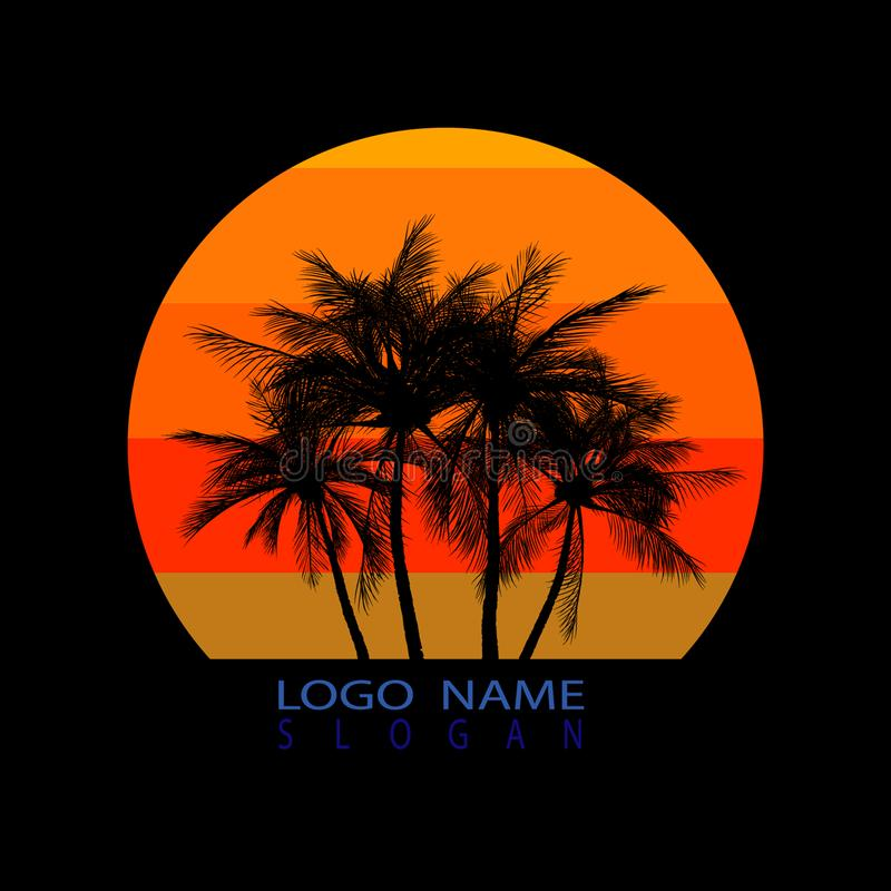 Logo of palm and coconut trees, vector illustration, royalty free illustration