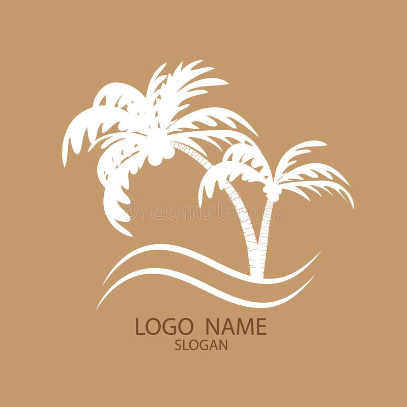 Logo of palm and coconut trees. stock illustration