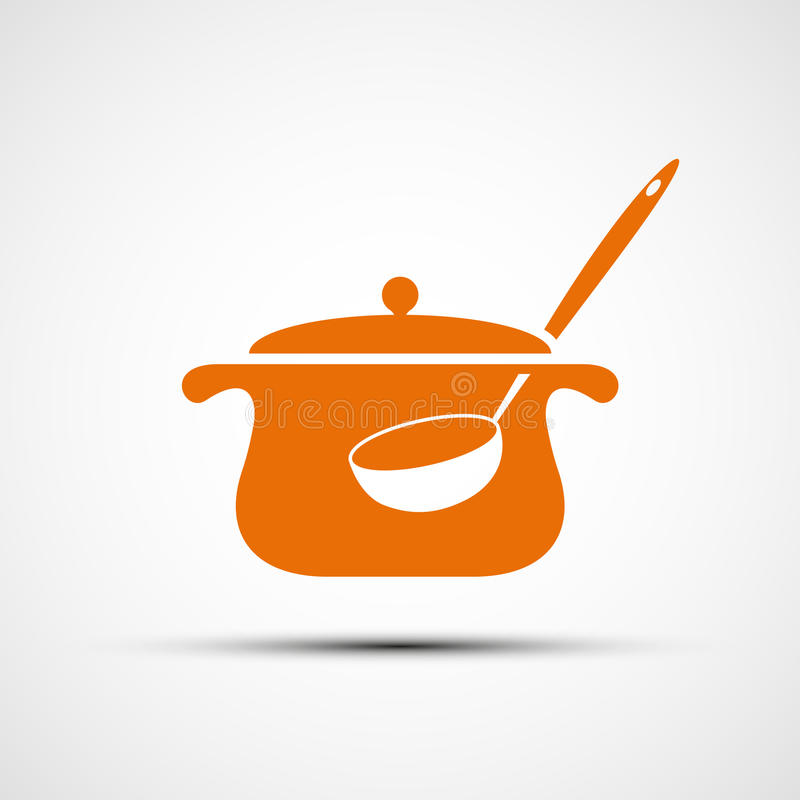 Logo pan with a ladle. vector illustration