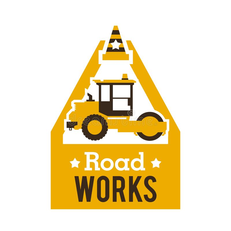 Logo paver, road repair. Asphalt processing works. Construction machinery. Traffic cone. Vector illustration. Flat style vector illustration
