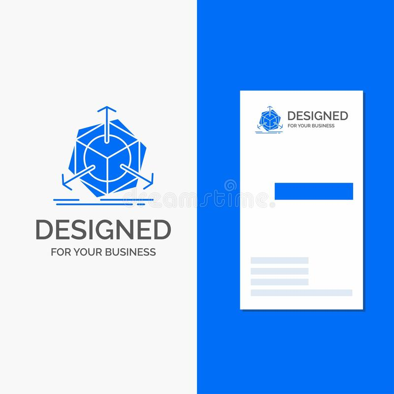 Logo per 3d, cambiamento, correzione, modifica, oggetto di affari Modello biglietto da visita/di affari blu verticali illustrazione di stock