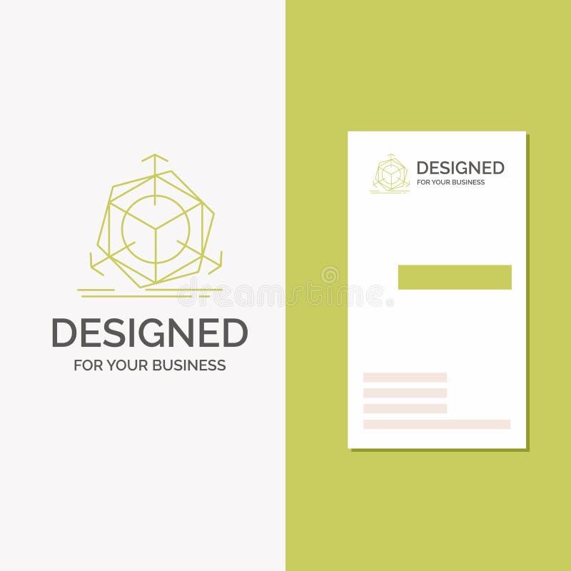 Logo per 3d, cambiamento, correzione, modifica, oggetto di affari Modello biglietto da visita/di affari verdi verticali creativo illustrazione di stock