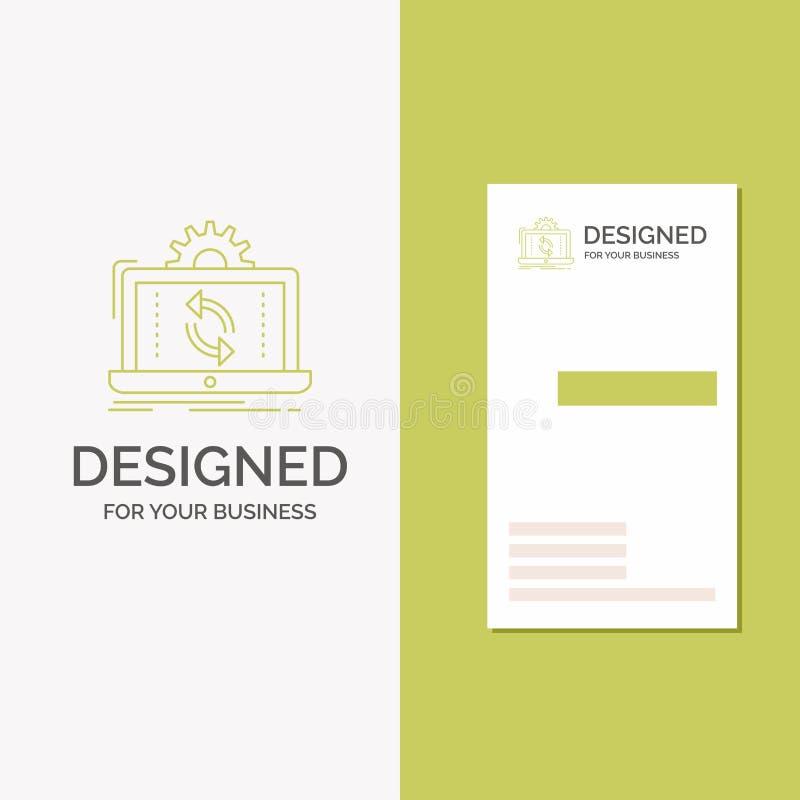 Logo per i dati, elaborante, analisi, segnalazione, sincronizzazione di affari Modello biglietto da visita/di affari verdi vertic illustrazione vettoriale
