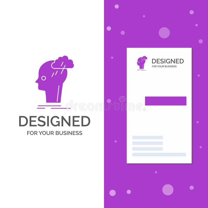 Logo per il lampo di genio, creativo, testa, idea di affari, pensante Modello biglietto da visita/di affari porpora verticali cre illustrazione vettoriale