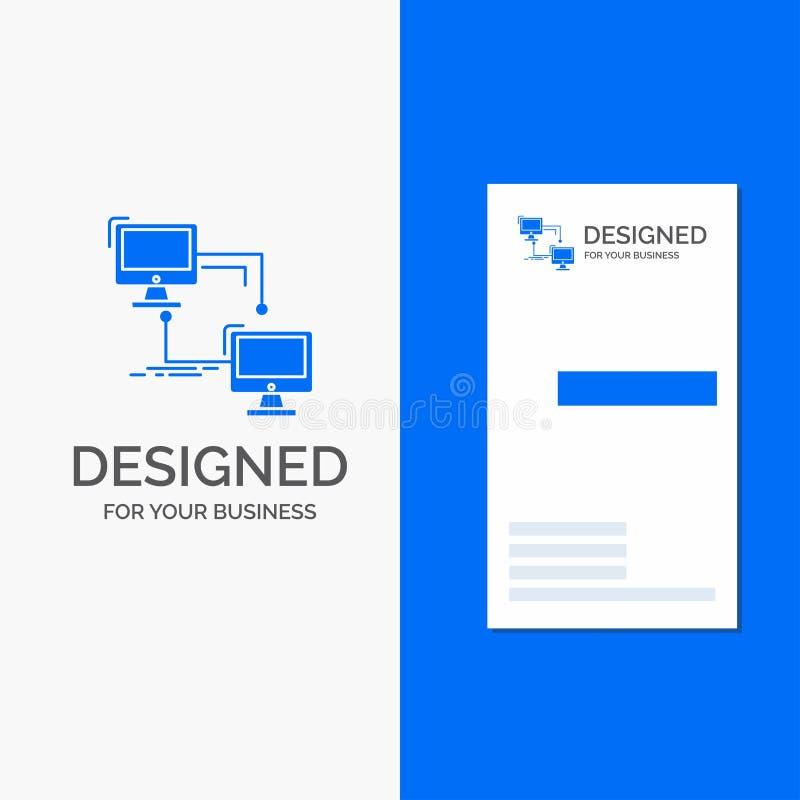 Logo per il locale, lan, collegamento, sincronizzazione, computer di affari Modello biglietto da visita/di affari blu verticali illustrazione vettoriale