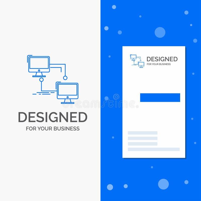 Logo per il locale, lan, collegamento, sincronizzazione, computer di affari Modello biglietto da visita/di affari blu verticali illustrazione di stock
