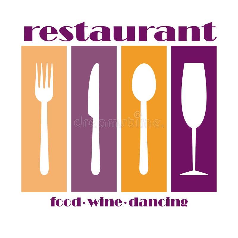 Logo per il menu del ristorante del servizio o dell'approvvigionamento gastro illustrazione di stock