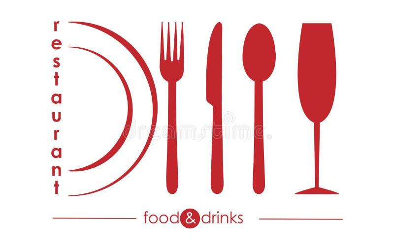Logo per il menu dell'approvvigionamento o gastro del servizio del ristorante illustrazione di stock