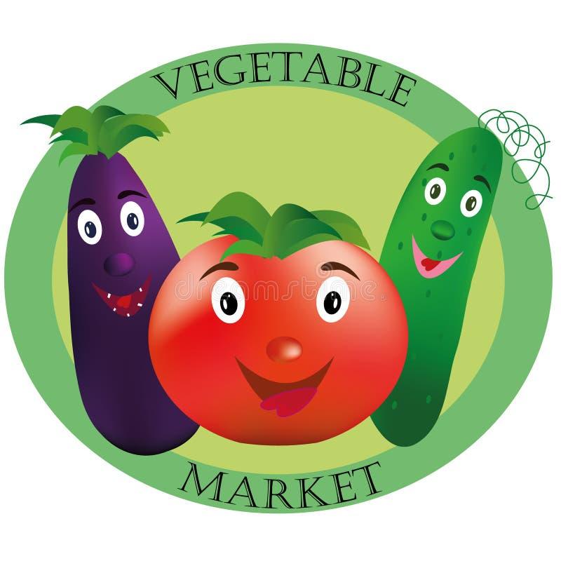 Logo per il mercato di verdure Pomodoro, cetriolo e melanzana su fondo verde immagine stock libera da diritti