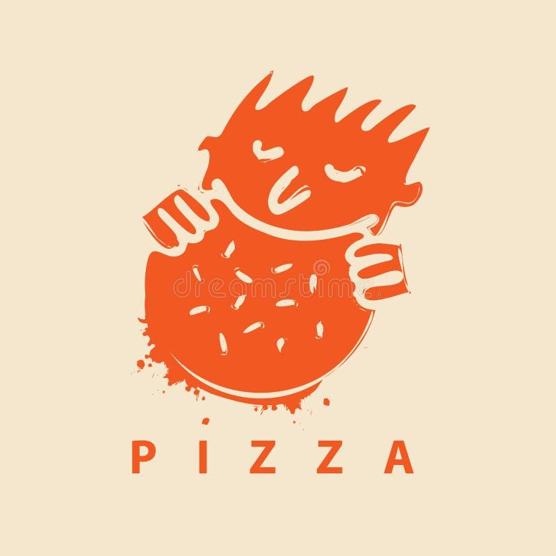 Logo per il ristorante della pizza con l'uomo che mangia la pizza illustrazione di stock