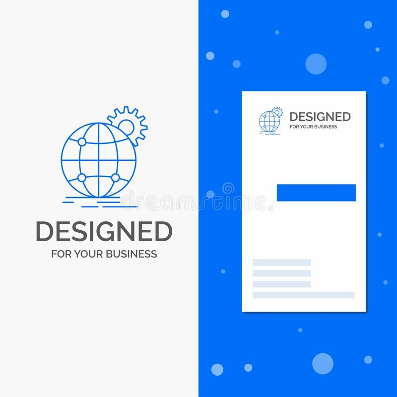 Logo per internazionale, affare, globo, mondiale, ingranaggio di affari Modello biglietto da visita/di affari blu verticali illustrazione vettoriale