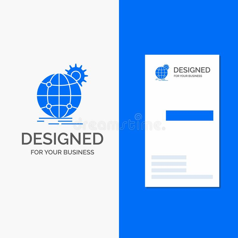 Logo per internazionale, affare, globo, mondiale, ingranaggio di affari Modello biglietto da visita/di affari blu verticali royalty illustrazione gratis