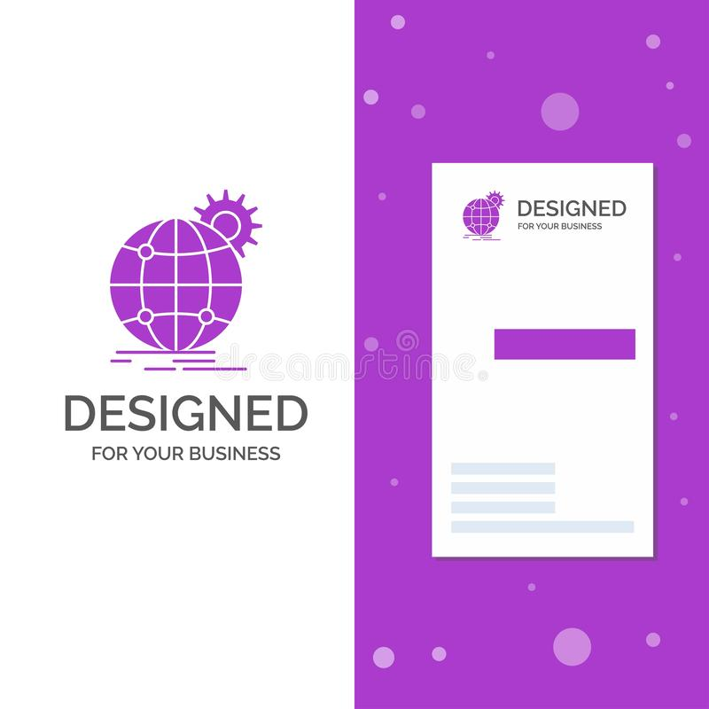 Logo per internazionale, affare, globo, mondiale, ingranaggio di affari Modello biglietto da visita/di affari porpora verticali c illustrazione vettoriale