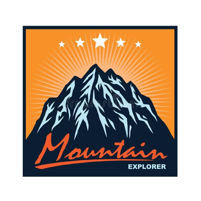 Logo per l'avventura della montagna, accampandosi, spedizione rampicante Logo d'annata di vettore ed etichette, illustrazione di  illustrazione vettoriale