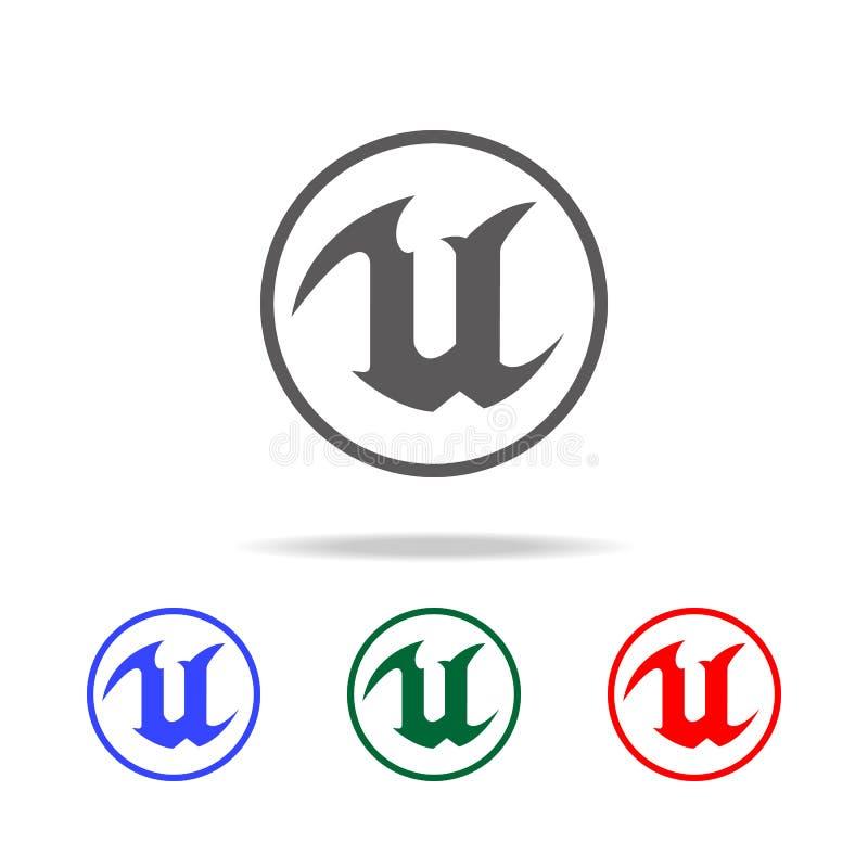 Logo per l'icona della lettera U Elementi di vita del gioco nelle multi icone colorate Icona premio di progettazione grafica di q royalty illustrazione gratis