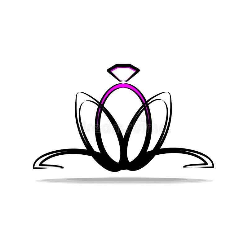 Logo per l'impegno e le nozze Anello sotto forma di fiore Logo di contrasto ed alla moda con le decorazioni illustrazione vettoriale