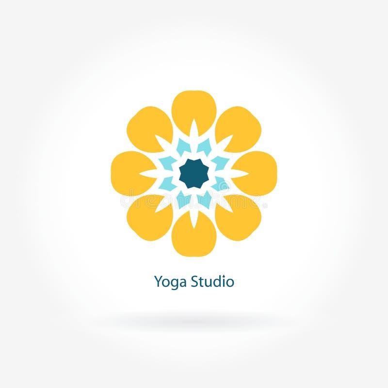 Logo per lo studio di yoga, forma fisica Simbolo del fiore Logotype della mandala Grande germoglio illustrazione di stock