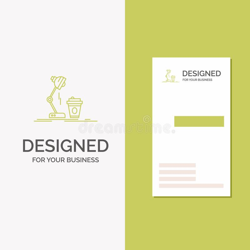 Logo per lo studio, progettazione, caff?, lampada, flash di affari Modello biglietto da visita/di affari verdi verticali Priorit? illustrazione vettoriale