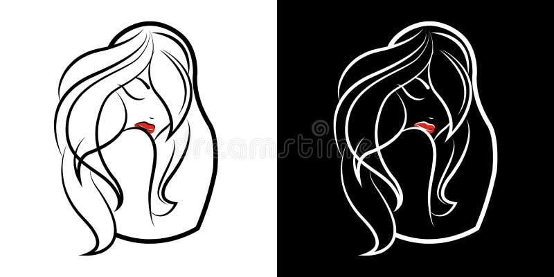 Logo per un salone di bellezza o una marca di cosmetici Bella ragazza e la siluetta del matrioshka Imballaggio del prodotto delle royalty illustrazione gratis