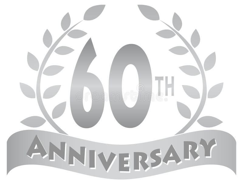 Sessantesimo Anniversario Di Matrimonio.Sessantesima Insegna Di Anniversario Illustrazione Vettoriale