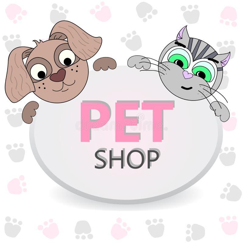Logo for pet shop. Logo design, animals care symbol. Cartoon style dog and cat illustration royalty free illustration