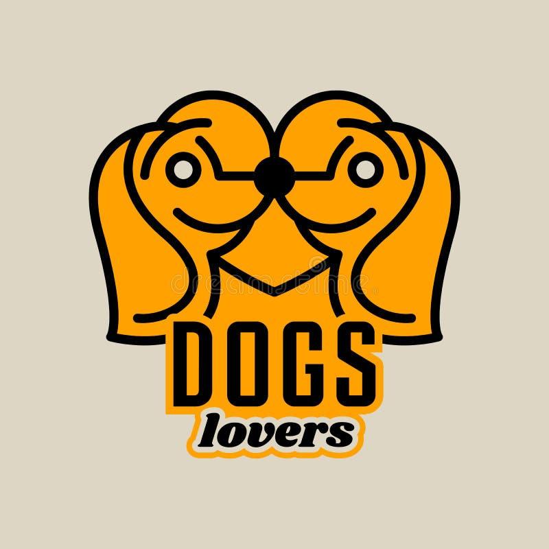 Logo on pets. Heart dogs head in profile. Vector illustration. Line style. stock illustration