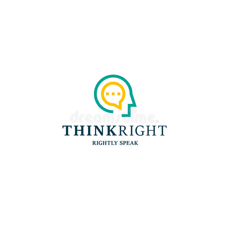 Logo peu commun de vecteur de club de discussion Le style linéaire principal de personnes pensent la bonne illustration de slogan illustration libre de droits