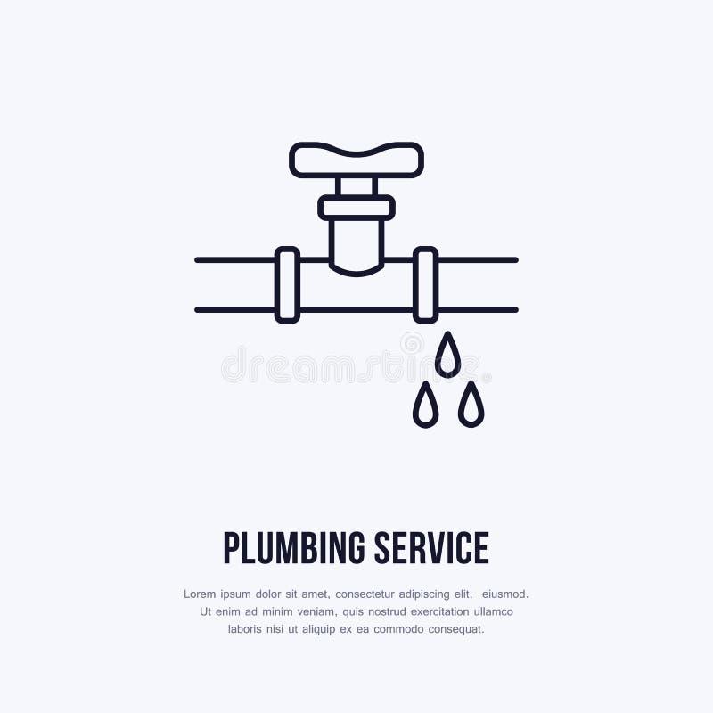Logo piano colante del tubo, linea icona Conduttura con l'illustrazione di vettore delle gocce di acqua Segno del servise dell'im illustrazione di stock