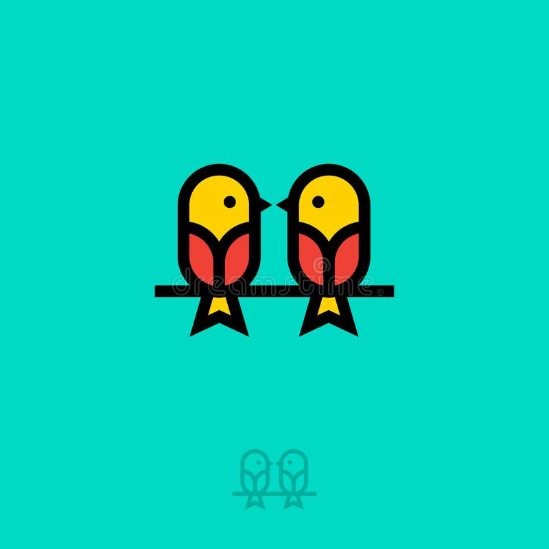 Logo piano degli uccelli Due piccoli uccelli Icona di schiamazzo Chiacchierata di amore Emblema parlante della scuola illustrazione vettoriale