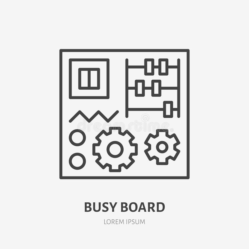 Logo piano del bordo occupato, linea in anticipo icona del giocattolo del bambino di sviluppo Illustrazione di vettore di istruzi illustrazione di stock