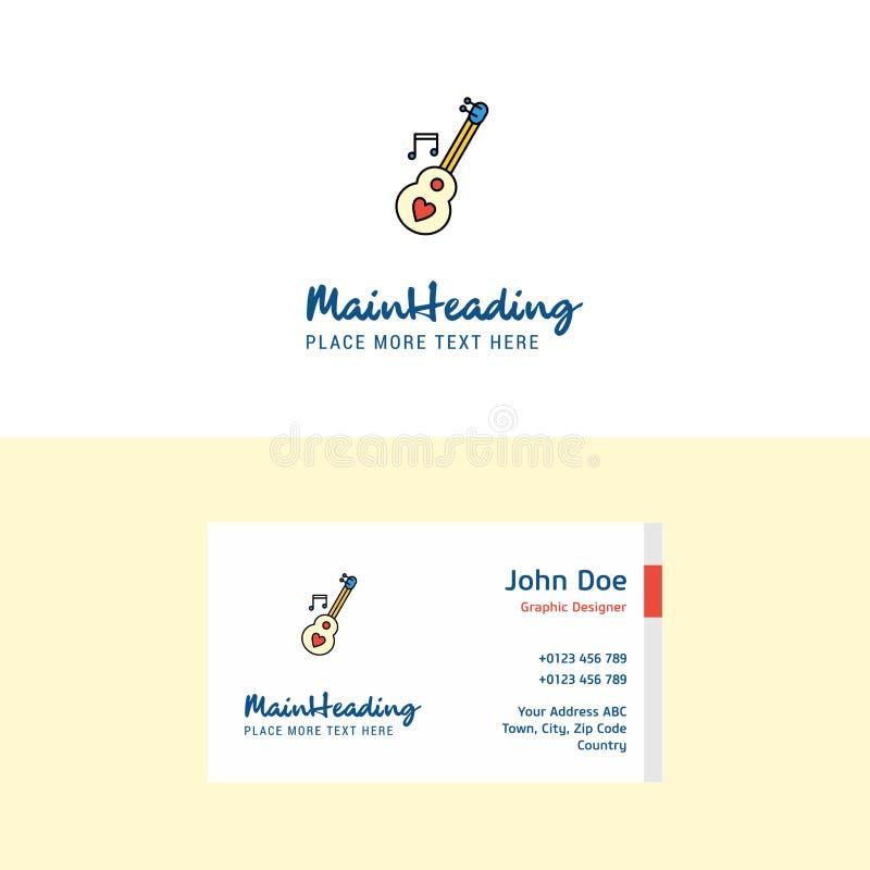 Logo piano della chitarra di amore e modello del biglietto da visita Concetto Logo Design di Busienss illustrazione vettoriale
