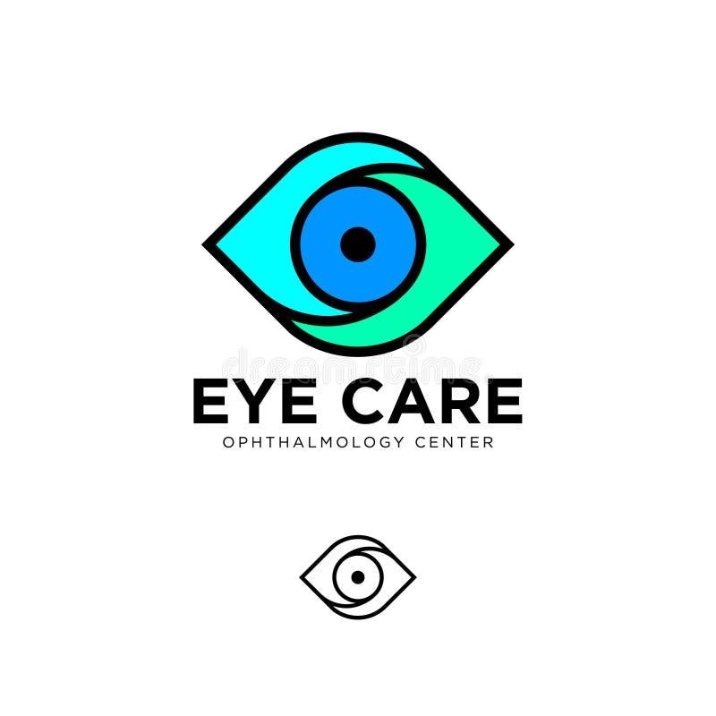 Logo piano della clinica oftalmologica Emblemi di cura dell'occhio Logo di contorno illustrazione di stock
