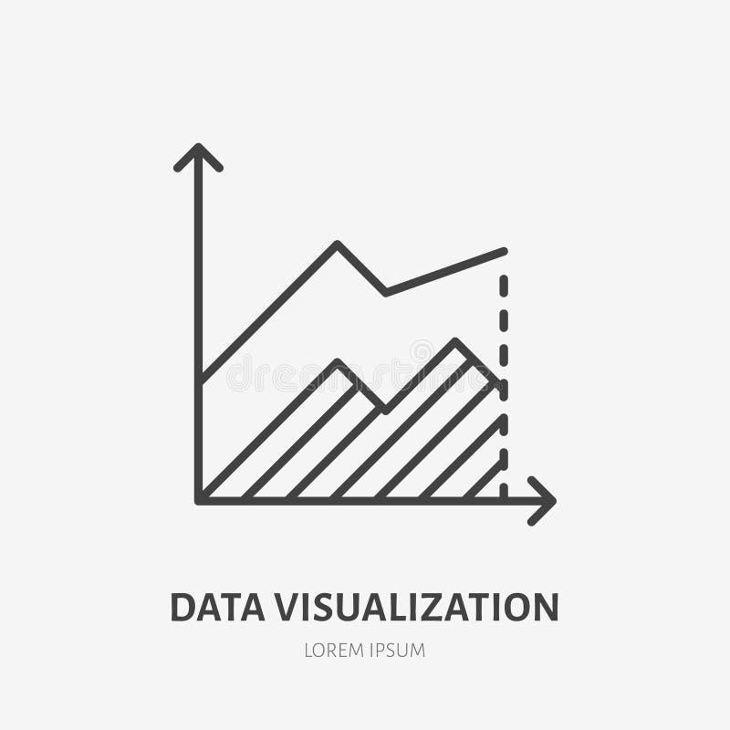 Logo piano di analisi finanziaria, grafico di area, icona del grafico Illustrazione di vettore di visualizzazione di dati Segno p illustrazione vettoriale